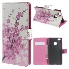Huawei P9 Lite vaaleanpunaiset kukat puhelinlompakko.