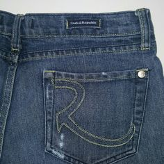 """Rock & Republic Roth jeans **These jeans are in great condition with the exception of a crease in the front and back of one leg. They were folded for a while and it formed a crease (which is lighter in color). Inseam is 34"""". No stains or tears. Flare leg. Rock & Republic Jeans Flare & Wide Leg"""