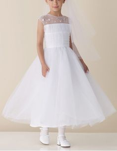 Custom Ball Gown Illusion Sleeveless Ankle Length Flower Girl Dresses/ Ballerina Satin Tulle Beading Girl Dresses
