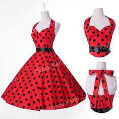 Pretty Vtg 1950s style Polka Dot Party Cotton Swing Tea Attire Dress | eBay