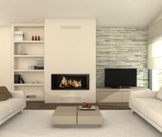 Minimalist fireplace....and a great neutral color scheme for overall minimalist decor
