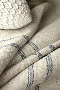 RARE and BEAUTIFUL natural indigo blue, homespun linen grain sack fabric ~ organic hemp from Europe ~ old and wonderful ! www.textiletrunk.com