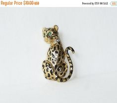 Vintage D'Orlan Leopard brooch pin Big by MargsMostlyVintage