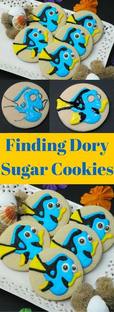 Finding Dory Sugar Cookies- Cute Recipe for a movie party, birthday party or to celebrate the movie in theaters this July.
