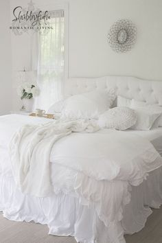 Beautiful Linen Bedskirt and White Nightstands from Shabbyfufu.