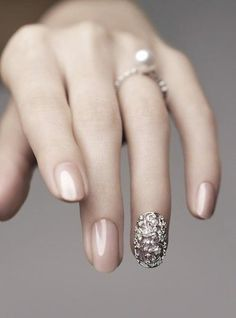 Nail inspiration: create the perfect bridal manicure with this unique twist on a classic neutral.