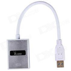 Aoluguya HW01 USB 3.0 to HDMI Converter w/ USB Driver Disc / Six Display - Silver