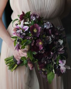A deep purple hellebore wedding bouquet