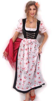 Dirndl Seide Schwarz/Weiß - elegantes festliches Dirndl - Couture in Schwarz/Weiß - Trachtenmode und Dirndl - Trachtenshop