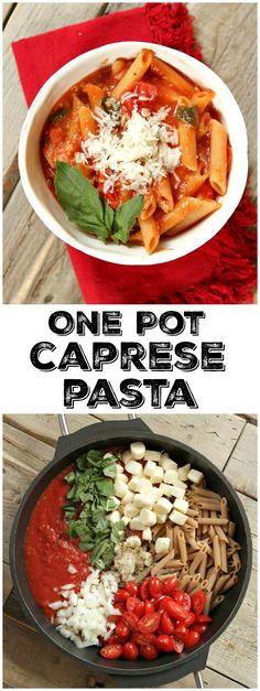 Easy, One-Pot Caprese Pasta recipe : from RecipeGirl.com
