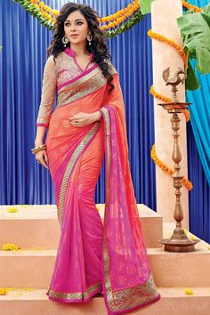 Andaaz Fashion new arrival pink peach Georgette Saree with Shantoon Blouse and Designer Pallu with price $84.79.   http://www.andaazfashion.us/pink-peach-georgette-saree-with-shantoon-blouse-dmv7958.html