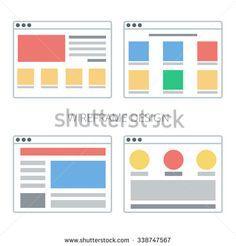 Vector set of flat website templates - stock vector