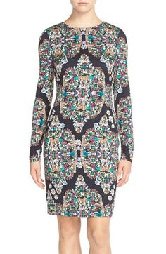 Nicole Miller Crystal Print Crepe Sheath Dress available at #Nordstrom