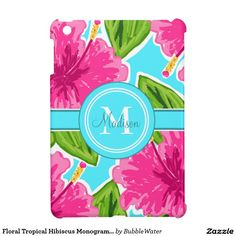Floral Tropical Hibiscus Monogram And Name iPad Mini Cover
