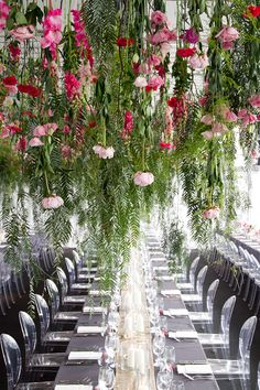 hanging flowers greenery green pink blush magenta hot grey louis ghost reception table wedding design decor setting seating clear acrylic Lauren loves Alex at Georgeous Occasions Decoration Table, Reception Decorations, Hanging Wedding Decorations, Flower Decorations, Spring Wedding, Garden Wedding, Hanging Flowers Wedding, Wedding Reception, Wedding Venues