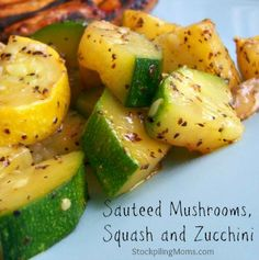 Recipe for Sauteed Mushrooms Squash and Zucchini - This tasty, flavorful side dish goes well with any meat that you may make for dinner. I love making this delicious veggie recipe when I grill meat, pork chops or chicken for dinner.