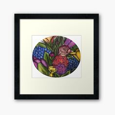 'Flower Bouquets ' Framed Print by Laurajart Large Prints, Framed Prints, Bright Flowers, Centerpiece Decorations, Duffy, Custom Boxes, My Flower, That Look, My Arts