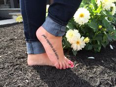 Per aspera ad astra. Latin for through hardship to the stars. Foot tattoo. Quote tattoo.