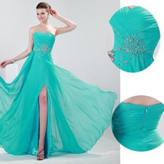 dress nepal on sale at reasonable prices, buy Turquoise Evening Dresses Long 2016 Grace Karin Sweetheart Pleat Chiffon Formal Split Party Gowns Beaded Robe Longue De Soiree from mobile site on Aliexpress Now! Ball Gowns Evening, Chiffon Evening Dresses, Ball Gowns Prom, Ball Gown Dresses, Wedding Party Dresses, Bridesmaid Dresses, Prom Dresses, Formal Dresses, Evening Party