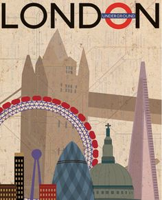Vintage Style Poster - London. A vintage style poster I designed for London. Using the cityscape and incorporating various london visual images such as the underground logo and ramp.
