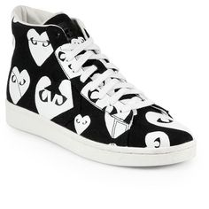 Comme des Garcons Play Canvas High-Top Sneakers ($155) ❤ liked on Polyvore featuring shoes, sneakers, trainers, apparel & accessories, high top canvas sneakers, canvas high tops, canvas flats, canvas sneakers and platform high tops