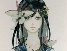 creepy girl with butterflies illustration  -ne0nrebel