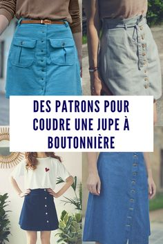 Coudre une jupe avec boutonnière / Patrons de couture jupe Jean Diy, Sewing Hacks, Sewing Projects, Diy Vetement, Europe Fashion, Couture Sewing, Diy Crafts To Sell, Shorts, Diy Clothes