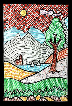 With colored felt pens we have drawn these landscapes, starting from a stylized drawing of a simple landscape. 6th Grade Art, Fourth Grade, Art Curriculum, School Art Projects, Middle School Art, Art Graphique, Elements Of Art, Art Lesson Plans, Art Classroom