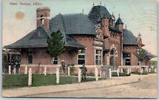 Nampa, Idaho Postcard RAILROAD DEPOT Street View Train Station 1909 Cancel