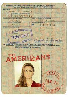 """The Americans"" Elizabeth Jennings' Passport. Elizabeth Jennings, Ronald Reagan, Fx Tv, The Americans Tv Show, Keri Russell, American Series, Film Books, Great Films, Couple"