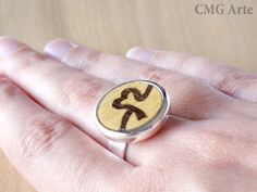 Adjustable ring with Wood inlay and silver plated  by CMGArte, €20.00