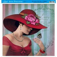 Papel para Arte Francesa Litoarte 21 x 21 cm - Modelo AFQ-343 Sapato e Flores - CasaDaArte