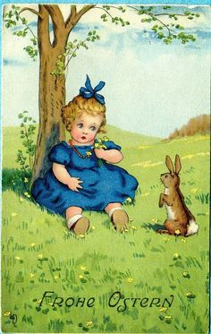 Lia Doring, Easter Girl sits by tree, Bunny Rabbit, Used 1947 Vintage Cards, Vintage Postcards, Vintage Images, Old Children's Books, Easter Garland, Old Greeting Cards, Baby Illustration, Retro Kids, Easter Art