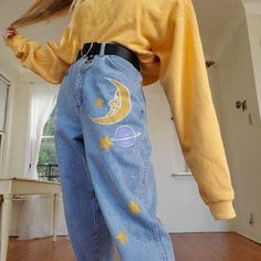 Indie Outfits, Teen Fashion Outfits, Retro Outfits, Vintage Outfits, 90s Fashion, Jeans Fashion, Art Hoe Fashion, Color Fashion, Retro Fashion