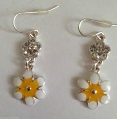 "Daisy Earrings Jewelry Hand Painted Yellow White Austrian Crystal Flowers 1.5""  #DavenportDesigns #DropDangle"