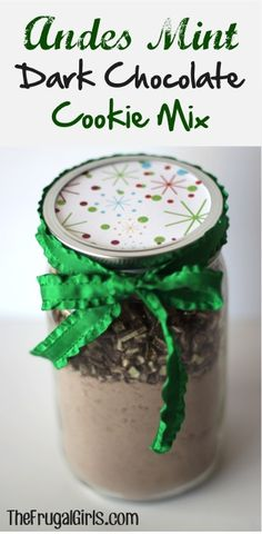 Andes Mint Dark Chocolate Cookie Mix Gift in a Jar! ~ from TheFrugalGirls.com ~ this easy DIY Mason Jar Gift comes together in just a minute, and makes such DELICIOUS cookies and fun gifts! #masonjars #ideas #thefrugalgirls
