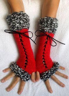 Fingerless Gloves Corset Wrist Warmers in Red Black White Handknitted Victorian Style Crochet Mitts, Crochet Gloves, Knit Crochet, Loom Knitting, Hand Knitting, Knitting Patterns, Crochet Patterns, Wrist Warmers, Hand Warmers