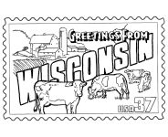 USA-Printables: Wisconsin State Stamp - US States Coloring Pages