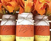 Candy corn mason jar trio fall home decor, fall centerpiece, mantle, hallow Mason Jar Pumpkin, Fall Mason Jars, Mason Jar Diy, Mason Jar Projects, Mason Jar Crafts, Bottle Crafts, Halloween Mason Jars, Halloween Party Decor, Halloween Halloween