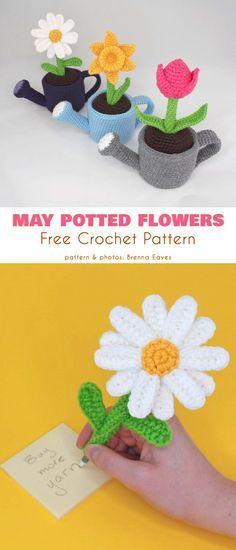 May Potted Flowers Free Crochet Pattern #crochetflowers #crocheteasypatterns Cactus Amigurumi, Mini Amigurumi, Amigurumi Doll, Crochet Gifts, Crochet Toys, Knit Crochet, Crochet Chain, Crochet Flower Patterns, Crochet Flowers