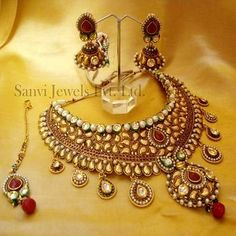 Bridal necklace, earrings, maang tikka, kundan jewellery, Indian bridal jewellery