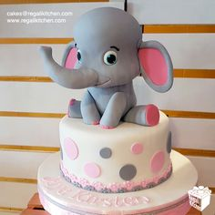 Cute Baby Elephant Cake for a little girl's christening | Cakes by The Regali Kitchen