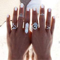 Crystal Ring White Quartz Boho Long Stone Stackable Adjustable Ring Aura Cleansing Meditation Healing