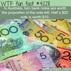 Torn Australian currency - WTF fun facts