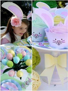 Printable Easter Bunny Esar Photo Booth Props and Easter Bunny Cupcakes