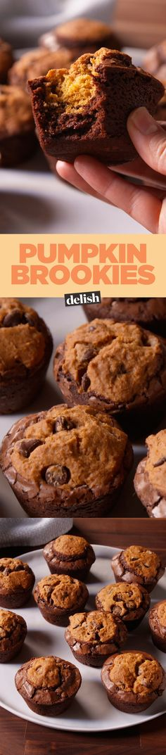 These Pumpkin Brookies won't make you choose between a brownie or a cookie. Get the recipe on Delish.com.