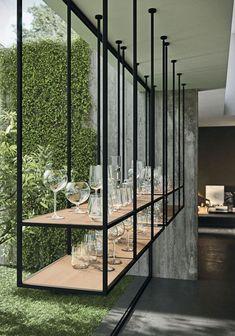 Industrial Kitchen Design, Luxury Kitchen Design, Luxury Kitchens, Modern Interior Design, Kitchen Interior, Level Design, Design Café, Shelf Design, House Design