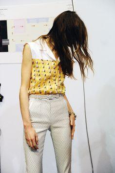 Backstage at Carven SS16 Paris Fashion Week Crash Magazine Alexis Martial Adrien Caillaudaud by Elise Toïdé