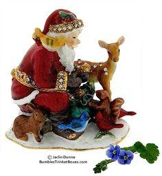 Trinket Box  #EB-3758 Santa & Animals Box