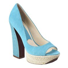 "Boutique 9 genuine suede peep toe pump with rope accent. 5 1/4"" heel. 1 1/4"" platform  Nine West  NOW $99.00"